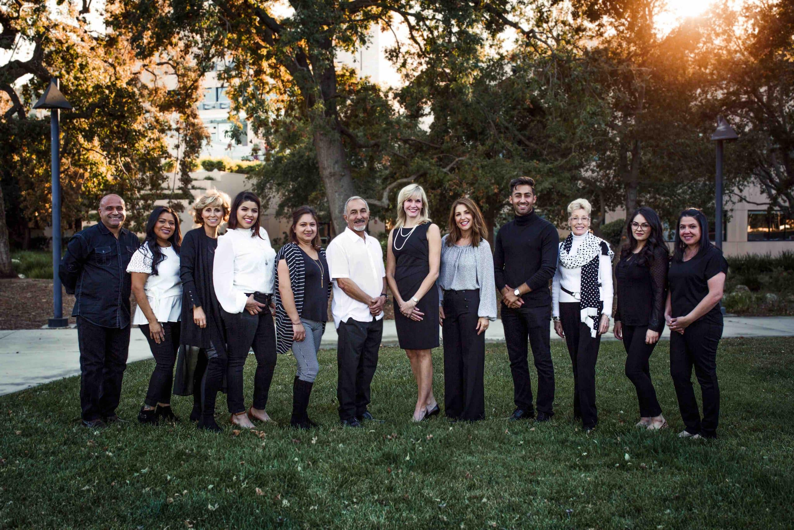 beautiful dentistry staff dressed in black and white thousand oaks